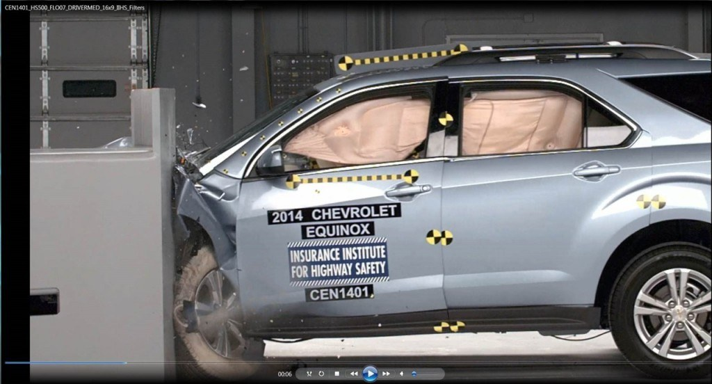 Equinox and Terrain were the only vehicles, out of nine midsize SUV's tested, to receive the IIHS 'Good' rating in the small overlap front crash test.