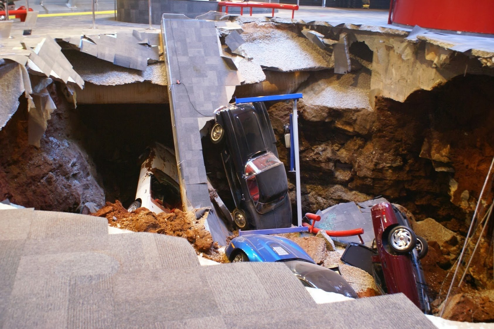 The sinkhole that erupted in the National Corvette Museum on February 12, 2014 caused damage to eight 'Vettes.
