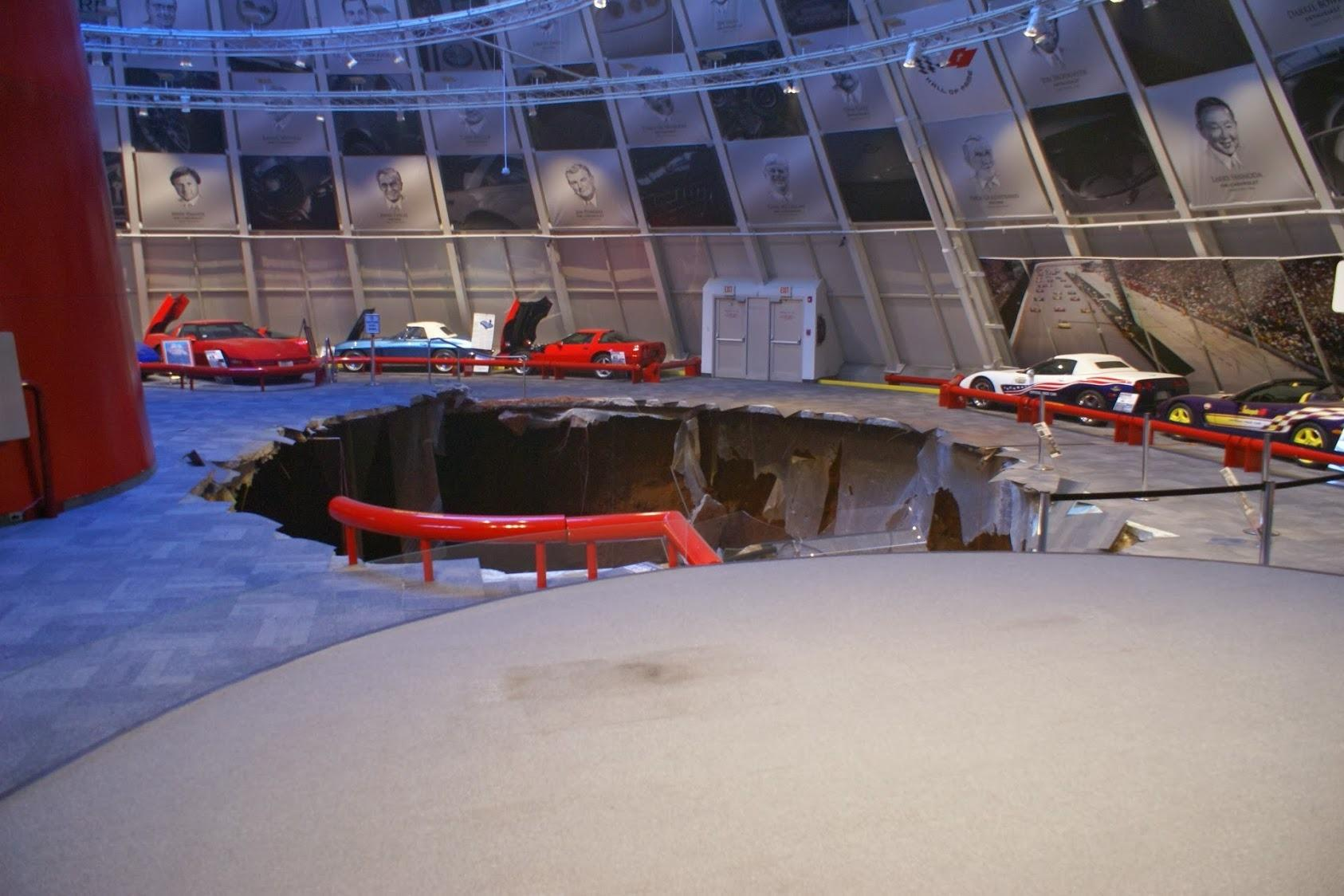 The sinkhole itself remains untouched inside the Corvette Museum