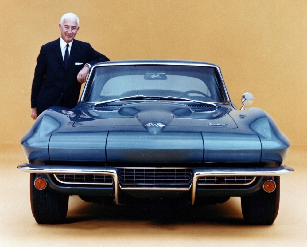 Zora with the Corvette Sting Ray, a car he created during his time as GM's lead Corvette engineer.