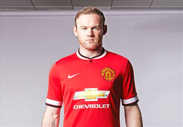 Football star Wayne Rooney wearing the clubs latest shirt, complete with Chevy Bowtie