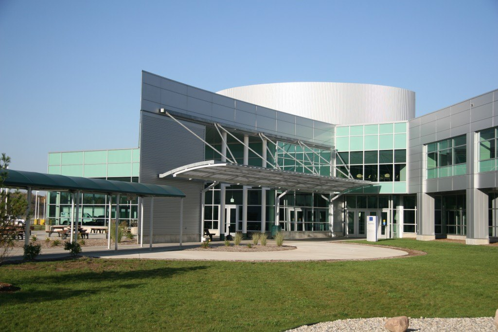 The exterior of the Lansing Delta Township Assembly Plant in Lansing, MI. Opened since 2006, it was the world's first LEED-certified automotive manufacturing facility.