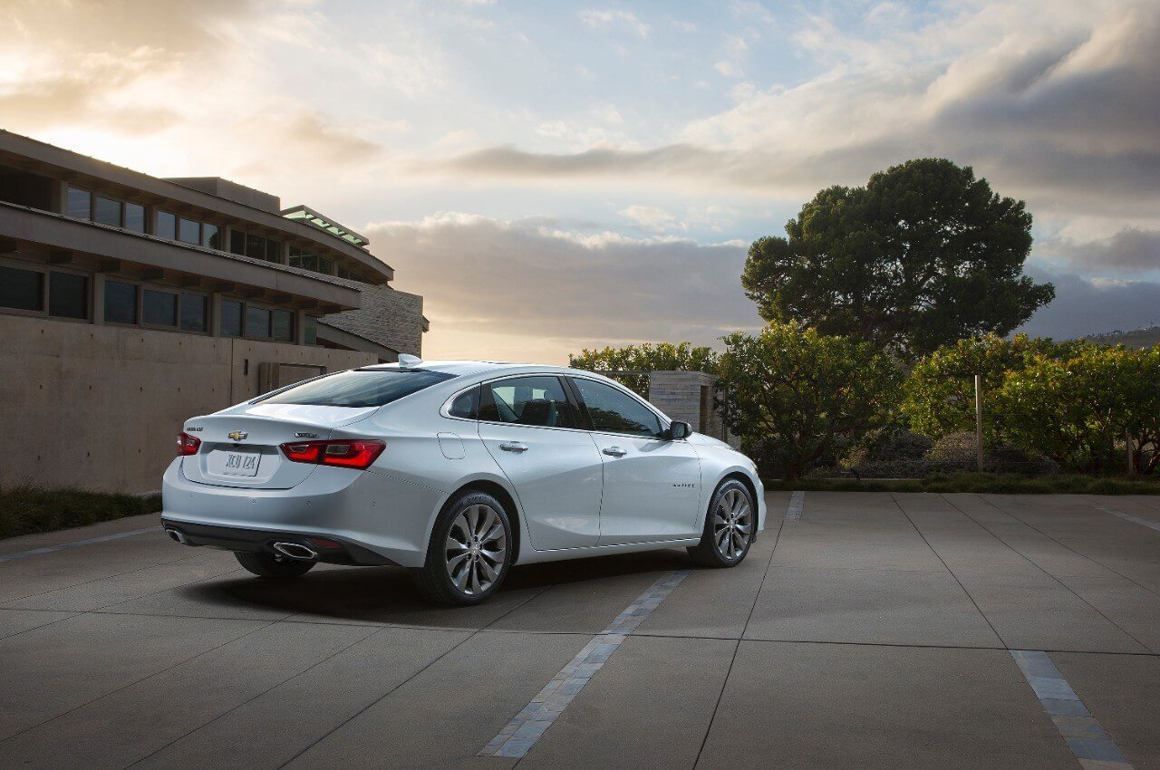 The new Malibu has been  completely restyled and rethought. Here we see the cars' fastback roof and restyled rear end.