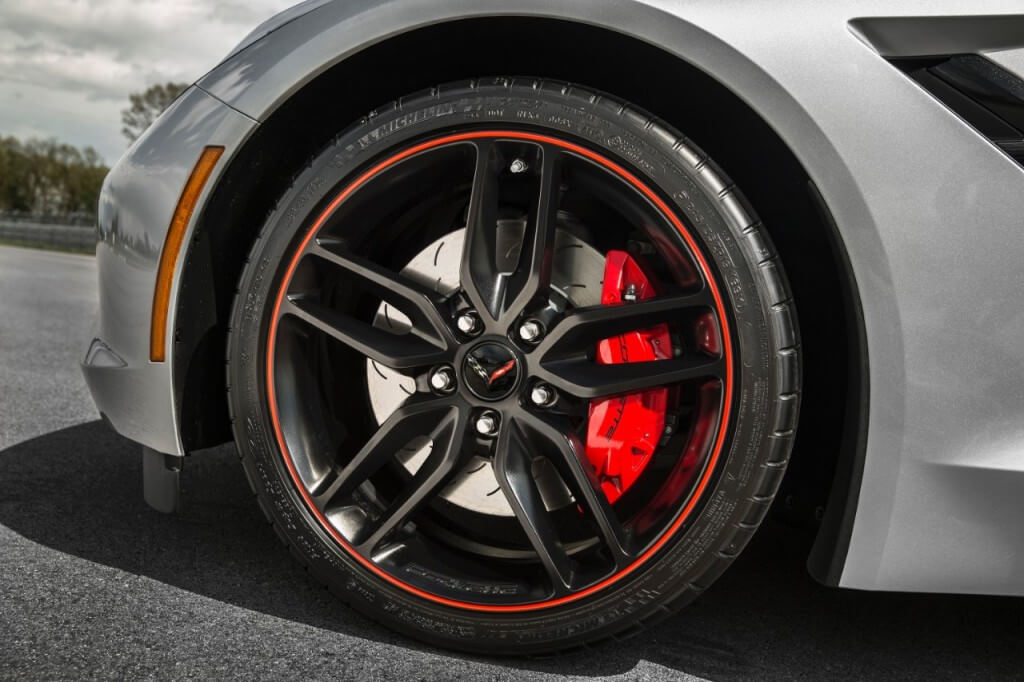 A close up of the 2016 Chevrolet Corvette Stingray Jet Black Suede Design Package